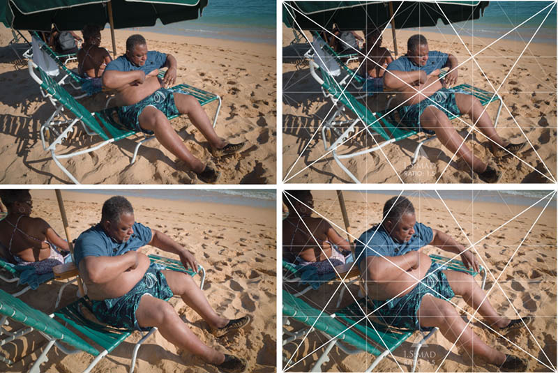 Street Photography and Ricoh GR III-3-Waikiki Hawaii-_T002021-guy-putting-on-shirt-with-grid