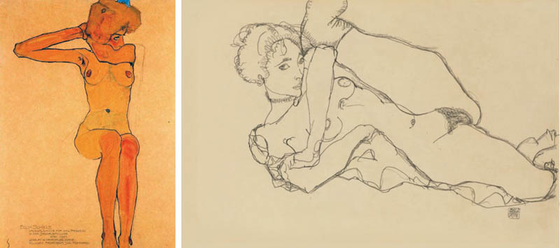 Nudity in Art-Michelangelo and More-Egon Schiele-comparison-1
