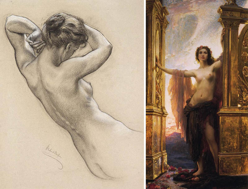 Nudity in Art-Michelangelo and More-Herbert James Draper-comparison-1