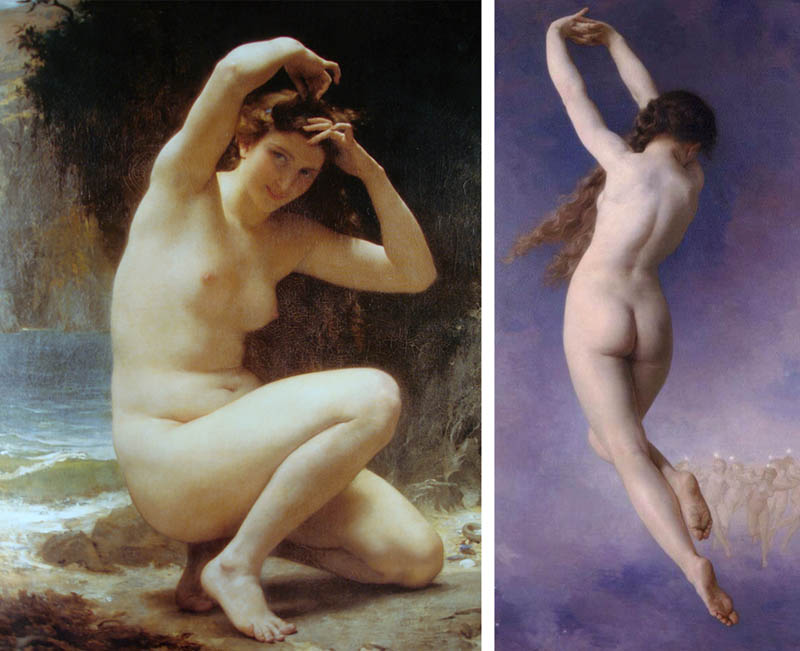 Nudity in Art-Michelangelo and More-William Adolphe Bouguereau-comparison-1